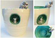 Birds and Cat Pot