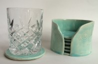 raindrop coasters with glass