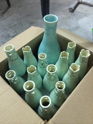 Packed up wedding vases
