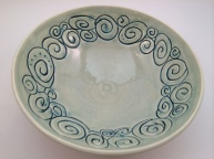 Peacock and Celadon Carved Bowl