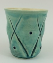 Seafoam green + clear and black onyx detail cup