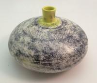 black and yellow underglaze pebble vase
