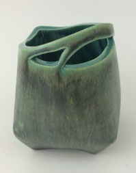 carved peacock and malachite pot