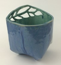 stormy blue and peacock flower pot 1